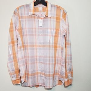 New GAP Boyfriend Button Down Shirt Plaid Shirt